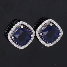 18K White Gold Filled Royal Blue Crystal Earrings Swarovski Elements Mothers Day