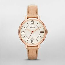 Fossil Watch, ES3487 Beige Leather Strap, Rose Gold 36mm Case, 5ATM WR RRP$179