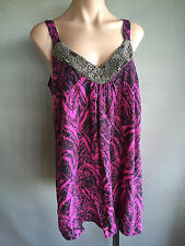 BNWT Womens Sz 18/20 Autograph Brand Pink/Black Bead Detail Cami Top RRP $60