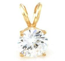 1.00ct Genuine VS Moissanite Solid 14K 14KT Yellow Gold Pendant FREE SHIPPING
