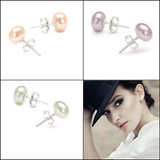 Natural White/Cream Cultured Freshwater Pearl 925 Sterling Silver Stud Earrings