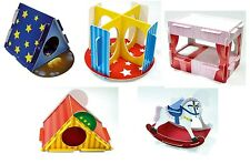 5 x Play n Chew Cardboard Toy Hamster Gerbil Mouse - Bed, Tent, Slide, Rocking