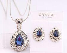 Vintage Teardrop Necklace Earrings SET SAPPHIRE BLUE Swarovski Crystal LUXURY