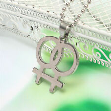 New Womens Gay Pride Necklace Lesbian Double Female Lgbt Jewellery Pendant Gift