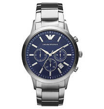 NEW EMPORIO ARMANI AR2448 MENS STEEL CHRONOGRAPH WATCH - 2 YEAR WARRANTY