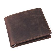 Fashion Mens Crazy Horse Leather Vintage Bifold Purse Wallet Credit Cash holder