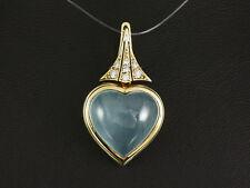 Ausgefallener Aquamarin Brillant Herz Clip Anhänger von Odenwald 585/- Gelbgold
