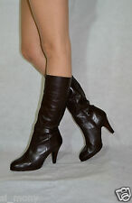 Women Brown Knee High Boots Real Leather Half Zip Slim Calf Size 6,5