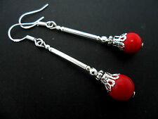 A PAIR OF LONG RED CORAL  BEAD  EARRINGS WITH 925 SOLID SILVER HOOKS. NEW..