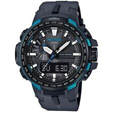 CASIO PROTREK TRIPLE SENSOR SOLAR PRW-6100Y-1A BLACK x BLUE WAVE CEPTOR PRW-6100