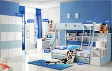 kids children bedroom furniture bunk bed+trundle+drawers+stairs+cabinet