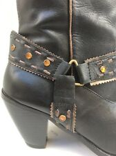 Ladies FIORE LEATHER black Cowboy Western style knee boots.Size 6.5/40