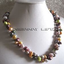 """20"""" 7-9mm Multi Color 2Row Baroque Freshwater Pearl Necklace  U"""