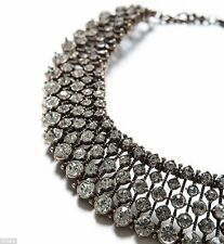 ZARA Silver CRYSTAL-Diamante Statement-NECKLACE Large Collar bib, choker style.