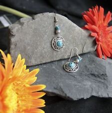 Vintage Tibetan Silver Charm Turquoise Glass Ball Beads Drop/Dangle Earrings