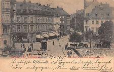 Gruss aus Chemnitz, Nicolaibrücke mit Langestraße, Straßenbahn, Postkarte 1900