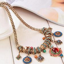 Damen Vintage Schmuck Halskette Anhänger Krystall Strass Stein Kette Schmuck