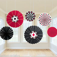 6 Assorted Casino Party Playing Card Poker Night Hanging Paper Fan Decorations