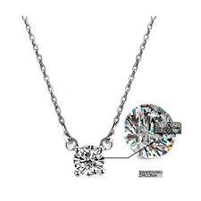 925 Silver SWAROVSKI CRYSTAL Clear Lab Diamond 6mm Necklace Wedding SF1737316