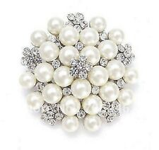 Large  Faux Pearl and Rhinestone Crystal Bridal Brooch
