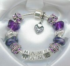 PERSONALISED LADIES/GIRLS CHARM BRACELET BEADS ANY NAME PURPLE & SILVER GIFT BOX