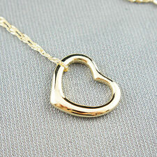 14k yellow Gold plated love heart pendant necklace
