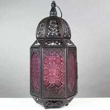 BNWT Vintage Ethnic Red Black Metal Morrocan Lantern Style Table Lamp NEW