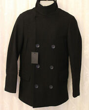 ASOS Wool Funnel Neck Black Military Double Breast Pocket Peacoat Jacket Small S