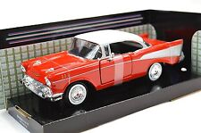 CHEVROLET BEL AIR 1957 RED WHITE MOTORMAX 73228 1:24 NEW DIECAST MODEL