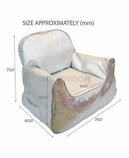 Bling Paillette Sequined Sofa Bean Bag Seater Chair Lounge Cover -Silver -Large