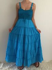 Women Summer Blue Boho Sleeveless Casual Maxi Long Dress Size 8-10-12-14-16 NEW