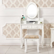 White Chic Dressing Table Makeup Desk with 4 Drawers Oval Mirror Stool Bedroom