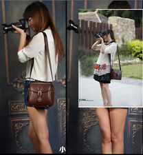 Brown leather  Leisure retro camera bag for Canon Nikon Sony Samsung