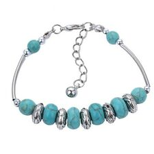 Silver Plated Turquoise Friendship Tibetan Bracelet Adjustable Alloy New Cuff