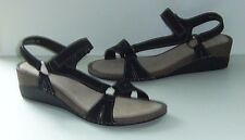 BRAND NEW LADIES BLACK SUEDE LEATHER RING TRIM SANDALS.SIZE 6.5/EURO 40