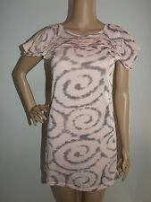 PINK & GREY CAP SLEEVE TIE DYE LOOK FITTED BODY CON DRESS SIZE 10 - KIVERNT