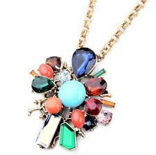 BLUE GREEN TURQUOISE RED TOPAZ CRYSTAL RHINESTONE Vtg Pendant Statement Necklace