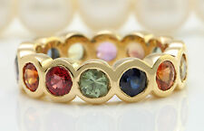 7.00 CTW Natural Ceylon Multi-Color SAPPHIRE in 14K Yellow Gold Women Ring