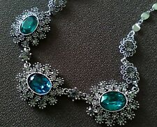 EQUILIBRIUM 64212 EMERALD GREEN SAPPHIRE BLUE OVALS NECKLACE Vintage Collection