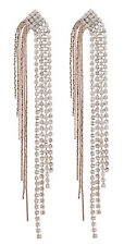 CLIP ON EARRINGS rose gold plated CUBIC ZIRCONIA CRYSTAL Chandelier - Britt RG