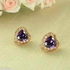 E3 Rose Gold Plated Amethyst Crystal Heart Earrings - Gift Boxed