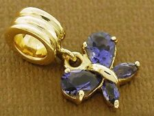 9ct Solid Gold Natural Blue/Purple Iolite Butterfly Drop Dangle Bead Charm
