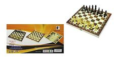 LargeFolding Wooden 34cm 3 in 1 Chess Backgammon & Draughts & Checkers