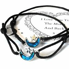 2 x UNISEX Friendship BRACELETS - 'I LOVE You to The MOON & Back' + CARD Abalone