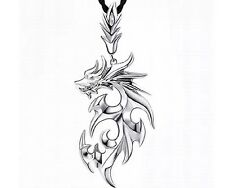 Fashion Silver Stainless Steel Dragon Pendant Men Necklace With Leather Chain