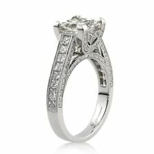 2.01CT PRINCESS CUT SOLITAIRE ENGAGEMENT RING 925S STERLING SILVER