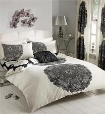 CREAM & BLACK PATTERNED DESIGN BEDDING KING SIZE DUVET COVER BED SET
