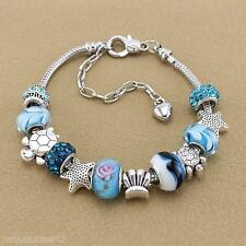 Women Girl Shell Blue Crystal Glass Beads Chain Bangle Bracelet Wristband Gift