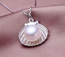 Perlenschmuck sterlingsilber Muschel Angänger mit echter Perle Halslkette 45 cm