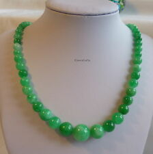 Certified green natural jade 5-12mm beads tower necklace L45cm